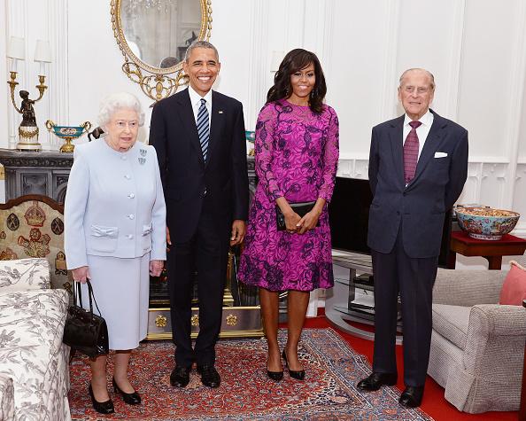 Барак Обама, Мишель Обама, Елизавета II и принц Филипп
