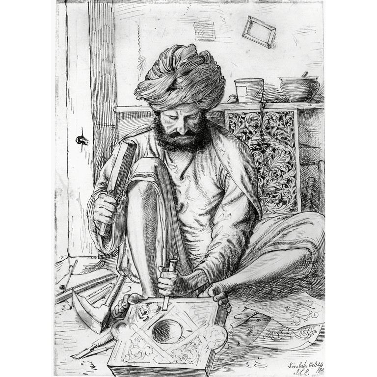 wood_carver_at_shimla_pencil_and_ink_drawing_by_john_lockwood_kipling_1870