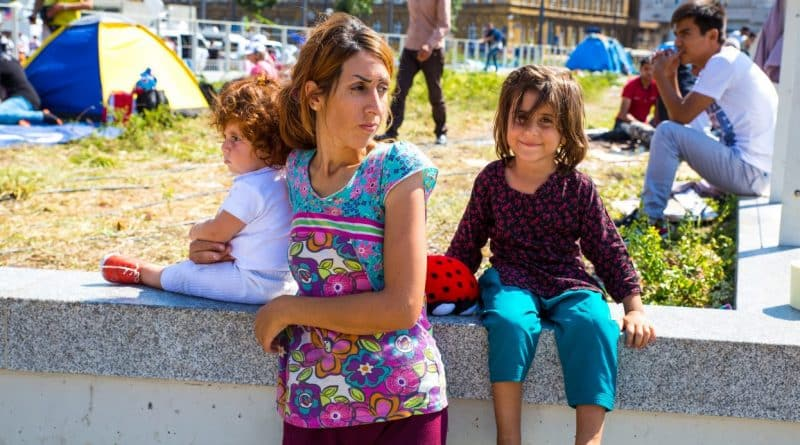 Refugees in front of the Keleti Trainstation in Budapest