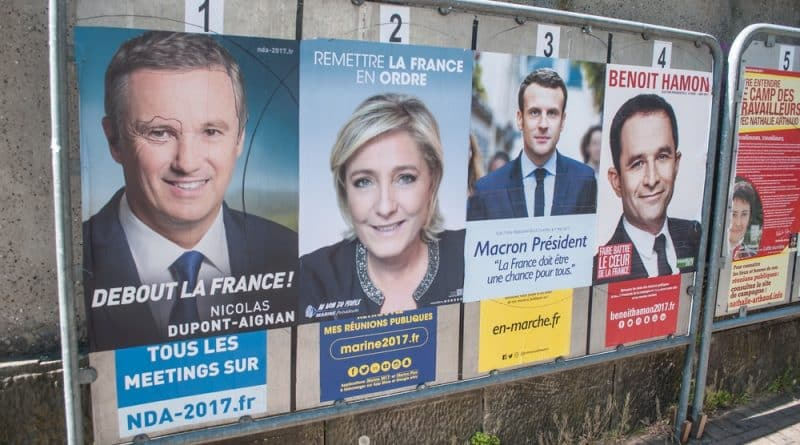 MULHOUSE - France -21 April 2017:  official campaign posters of