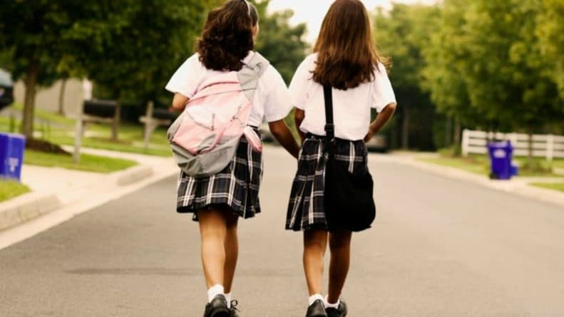 Rear-view-of-two-schoolgirls-walking-on-the-road1
