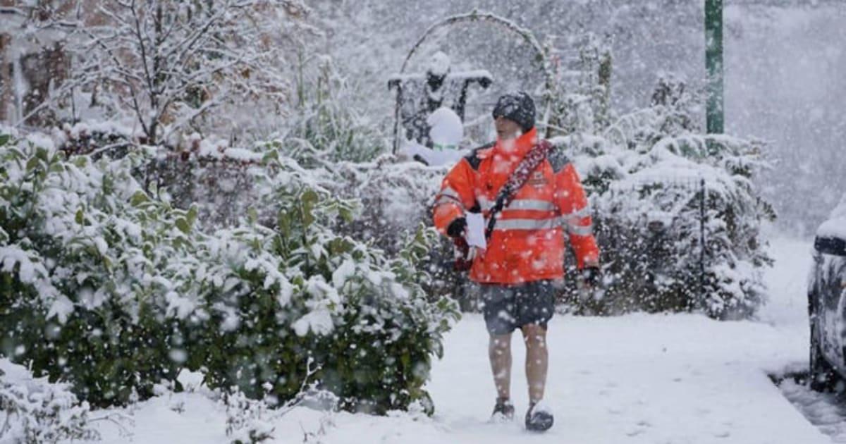 почтальон в снегопаде