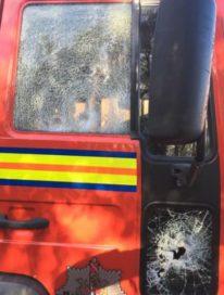 разбитая пожарная машина