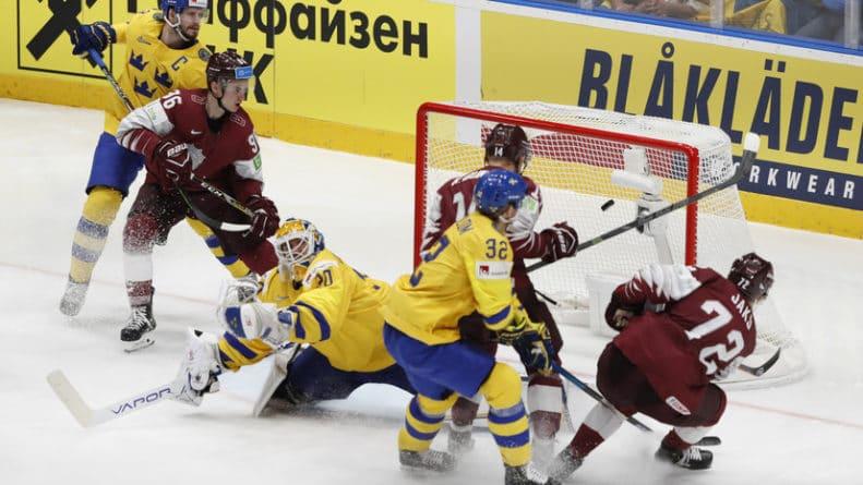 Общество: Сборная Швеции одержала волевую победу над Латвией в матче ЧМ по хоккею