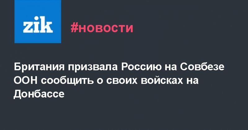 Общество: Британия призвала Россию на Совбезе ООН сообщить о своих войсках на Донбассе