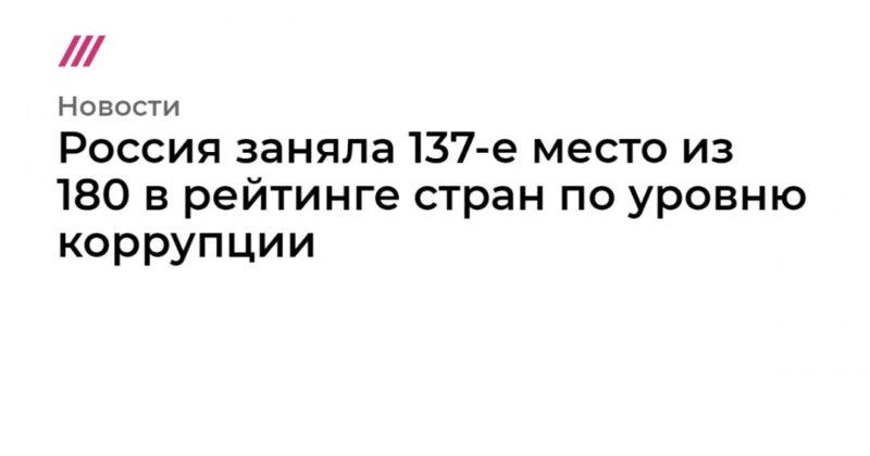 Общество: Россия заняла 137-е место из 180 в рейтинге стран по уровню коррупции