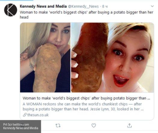 Общество: Жительница Англии назвала огромную картофелину членом своей семьи
